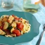 Easy, spicy, flavorful veggie pasta.