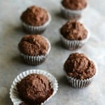 Just 6 ingredients needed to make these paleo and vegan chocolate mini muffins!