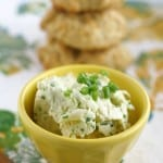 So simple to make, this green onion and garlic butter spread is delicious on warm bread or biscuits!