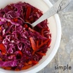 This simple red cabbage slaw is so easy to throw together. Lots of fresh veggies and a tasty dressing made with just a few ingredients! Vegan and gluten free.