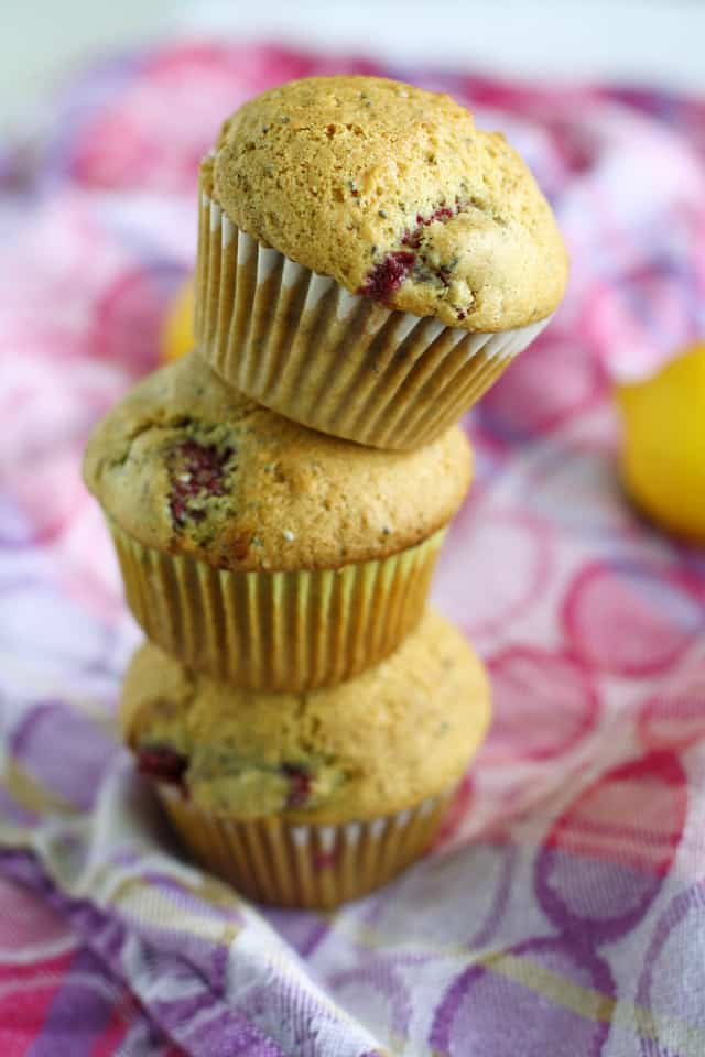 Vegan raspberry lemon chia seed muffins.