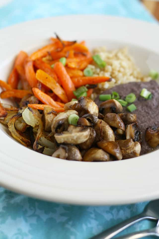 Roasted veggies, black beans and rice make a tasty lunch of dinner. Gluten free and vegan. Top 8 allergen free.