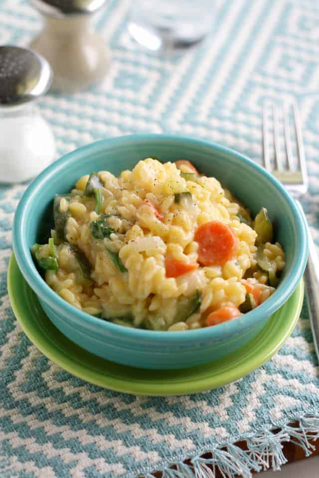 creamy orzo with veggies