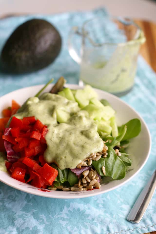Make this fresh salad with a creamy, dilly, avocado dressing on top. Dairy free.