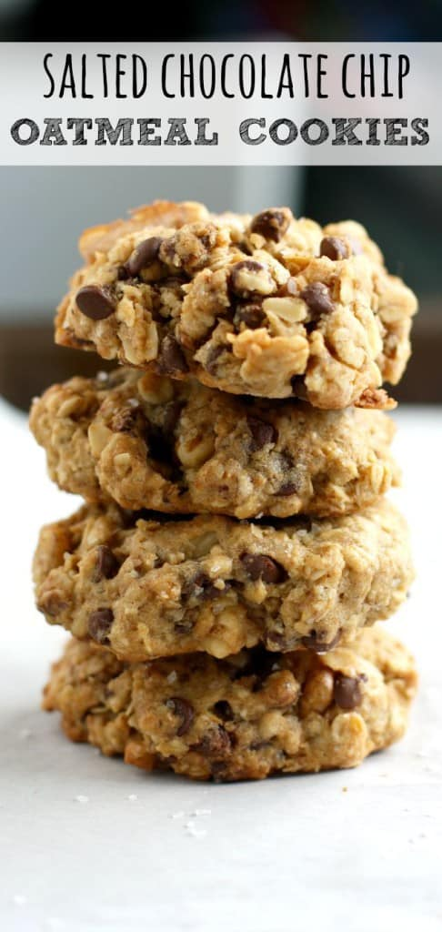 Thick, chewy, delicious salted chocolate chip oatmeal cookie recipe. These are our very FAVORITE cookie to make! #vegan #glutenfree