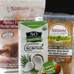 packages of gluten free flour dairy free milk and flax seed