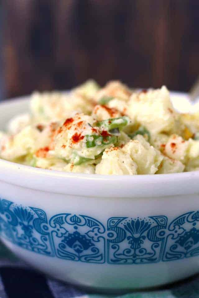 potato salad in vintage Pyrex bowl