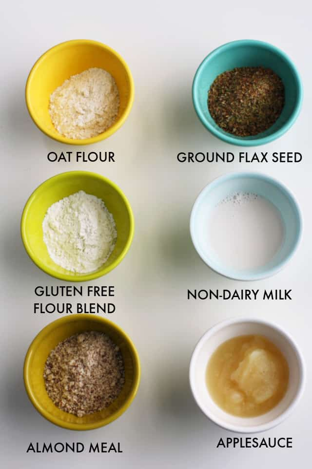 small bowls with gluten free flours and egg replacers in them