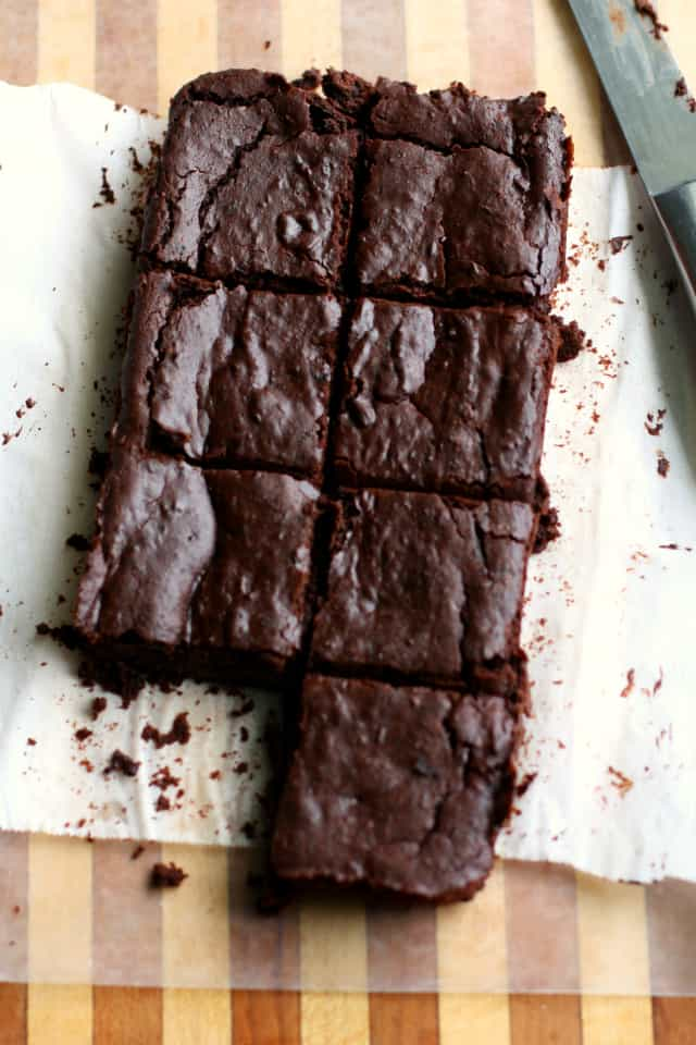 vegan black bean brownies on a cutting board