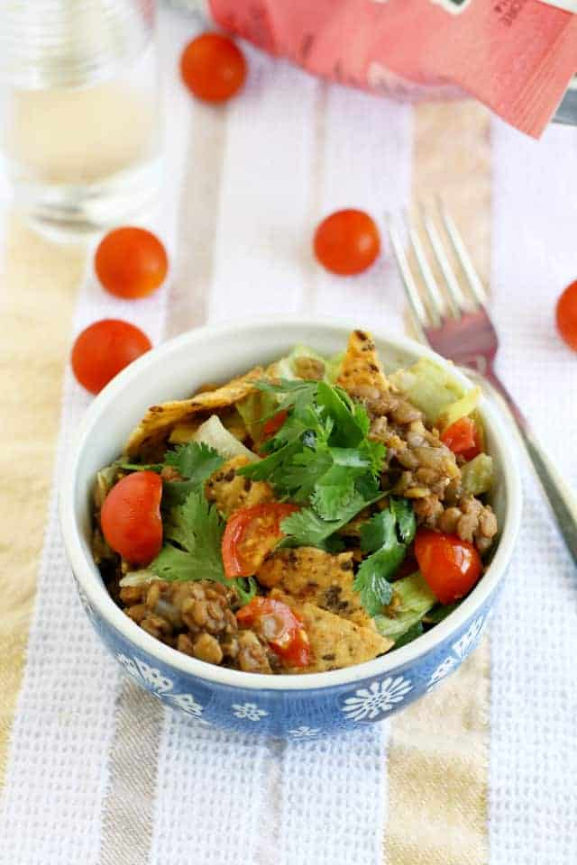 vegan lentil taco salad recipe