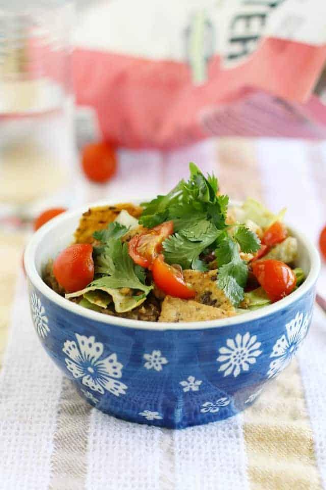 vegan lentil taco salad