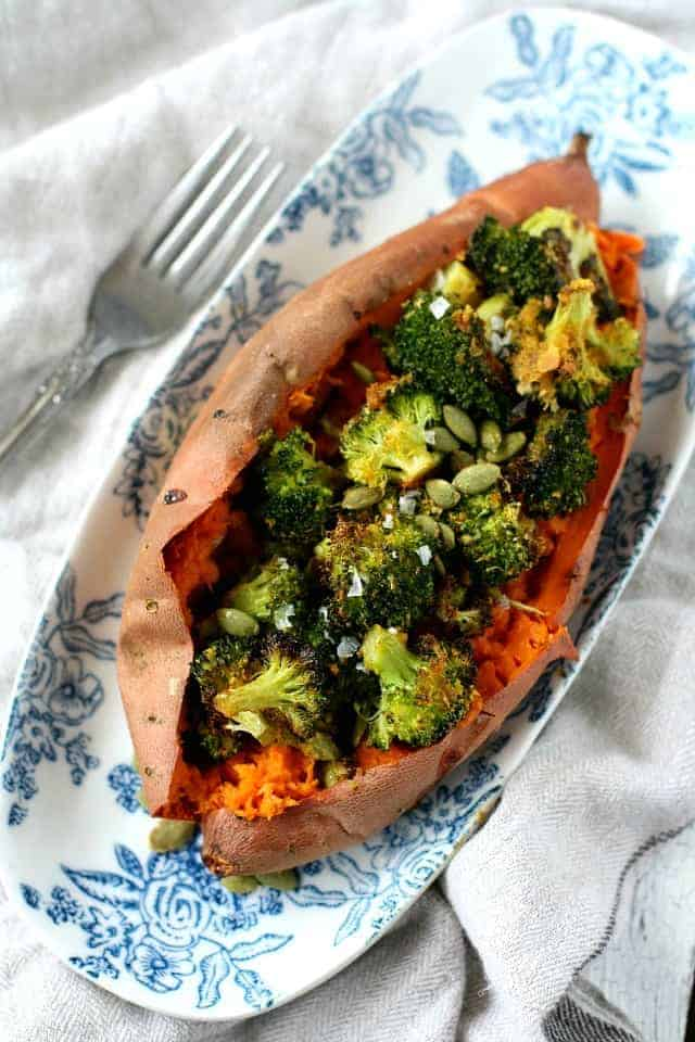 Healthy Stuffed Sweet Potatoes With Broccoli The Pretty Bee