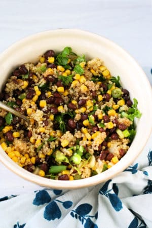 southwestern quinoa salad in a large bowl