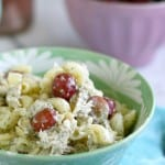 Chicken pasta salad with grapes and avocado dill dressing - a light lunch or dinner.