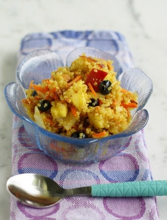 Curried quinoa salad with almonds and fruit. Vegan and gluten free.