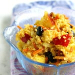 Fresh fruit and curried quinoa salad. This is great summer salad!
