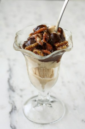 Rich hot fudge with coconut rum and sweet and salty pecans make this a rich and decadent sundae.
