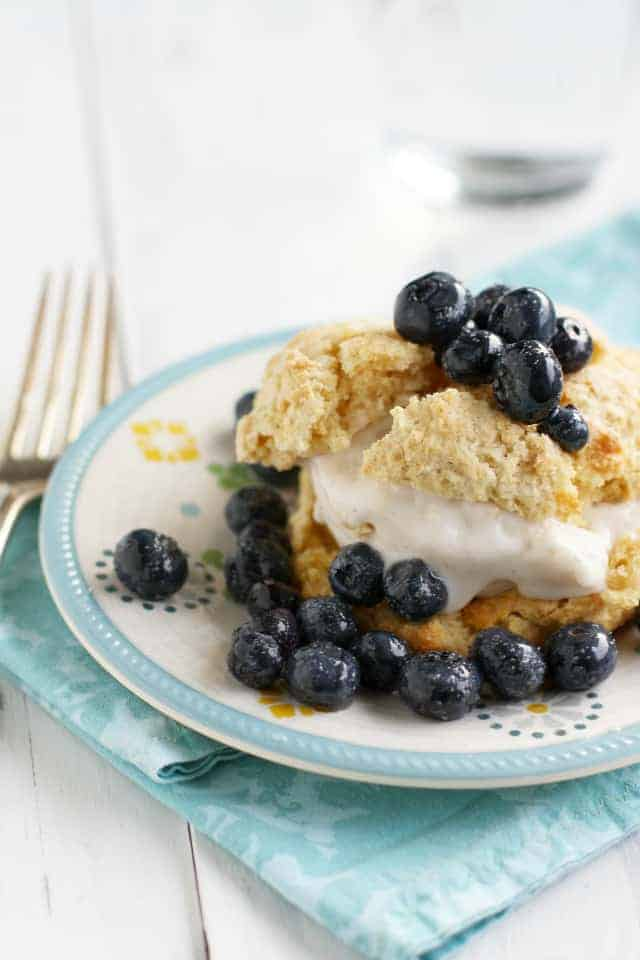 blueberry shortcake on a white plate