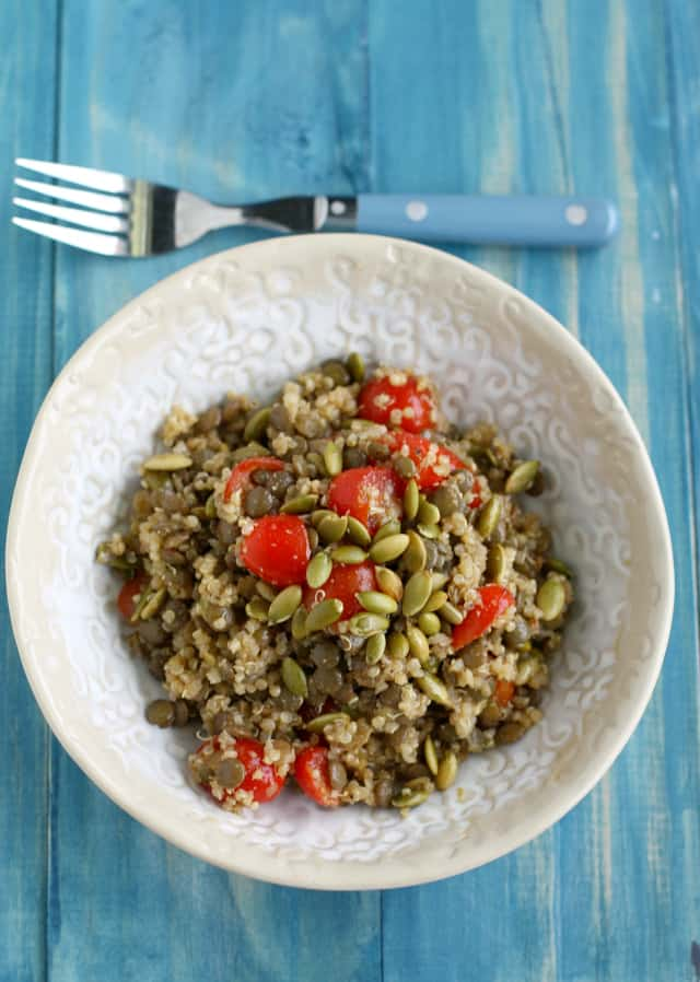 spiced lentil quinoa salad with pepitas