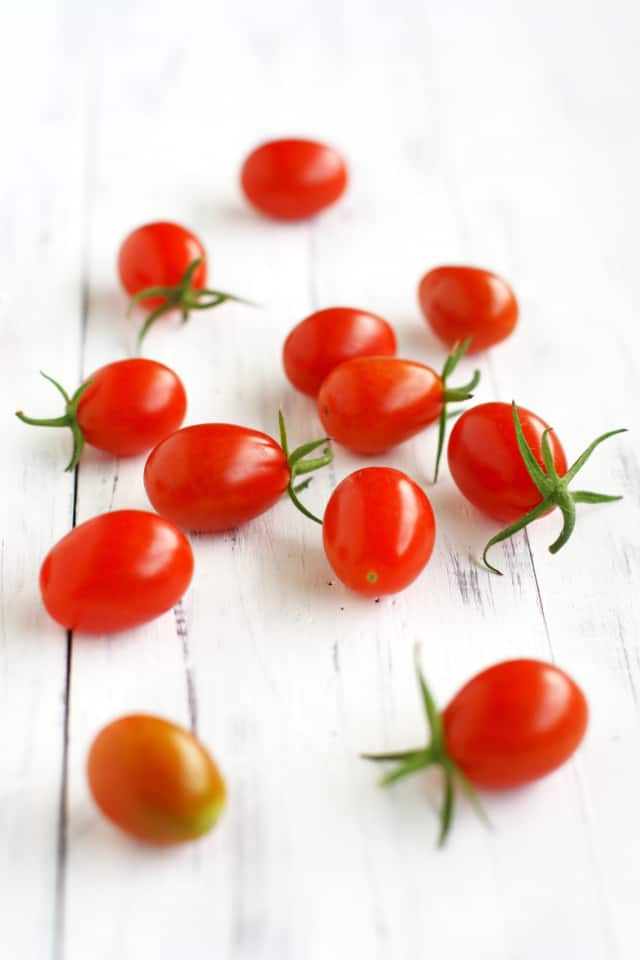 Fresh picked cherry tomatoes.