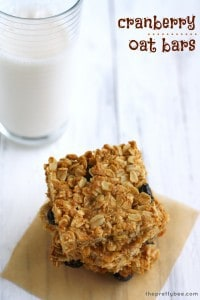 Gluten free cranberry oat bars - a tasty after school snack.