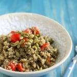 Spiced Lentil Quinoa Salad with Pepitas.