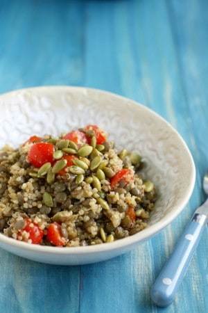 Lentil quinoa and pepita salad - a delicious and healthy side! #vegan #glutenfree