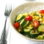Healthy vegan corn and zucchini garden rice bowl! An easy summer dinner! #vegan #glutenfree