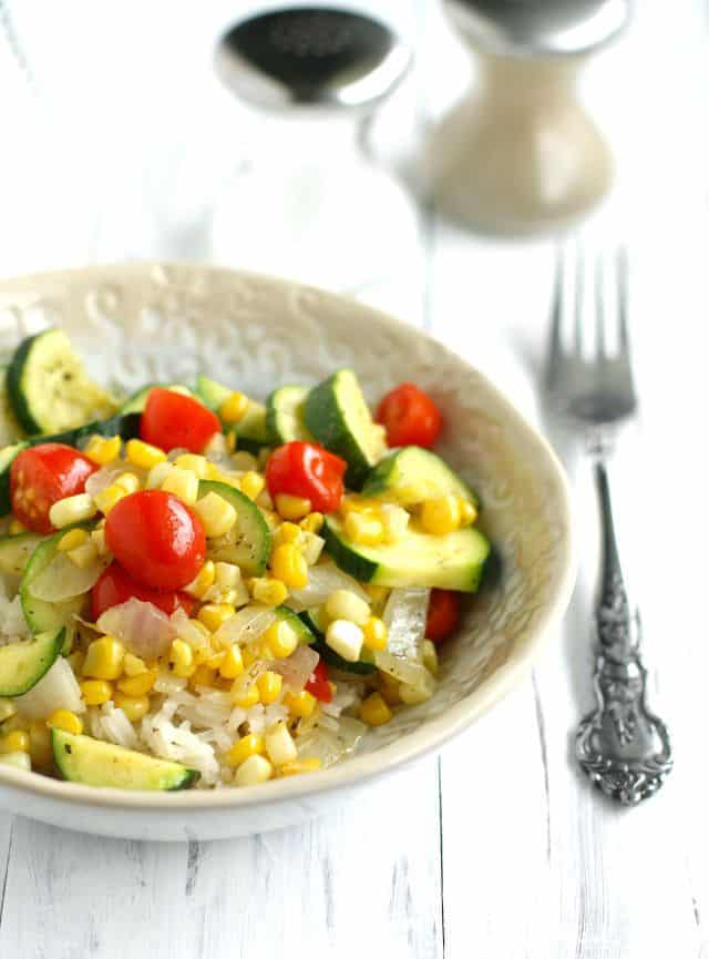 rice bowls with zucchini corn and tomatoes