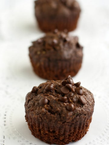 Delicious, moist, vegan and gluten free double chocolate zucchini muffin recipe.