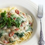 Pasta with sundried tomatoes, spinach, and mushrooms in a creamy sauce.