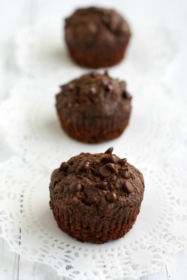 gluten free vegan double chocolate zucchini muffins.