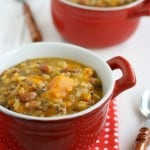 Sweet potato, bean, and wild rice slow cooker soup.
