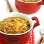 This sweet potato and wild rice soup is tasty, hearty, and healthy! Easy to throw in the crock pot, and everyone LOVES it! #slowcooker #glutenfree