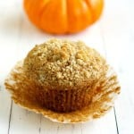 The perfect fall breakfast treat - pumpkin muffins with streusel on top.