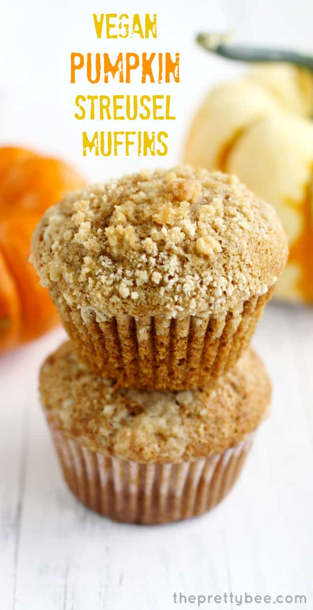 Vegan pumpkin muffins with buttery streusel are a delicious treat for the autumn season!