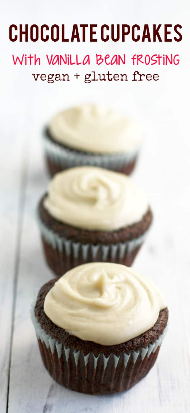 vegan chocolate cupcakes with vanilla bean frosting. These are simple ...