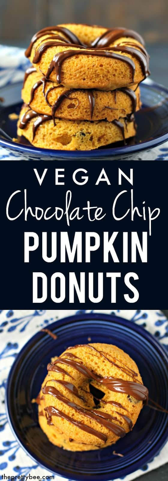 Deliciously spiced baked pumpkin donuts are topped with chocolate drizzle for a sweet treat that's perfect for fall! #pumpkin #vegan #dairyfree #nutfree #donuts