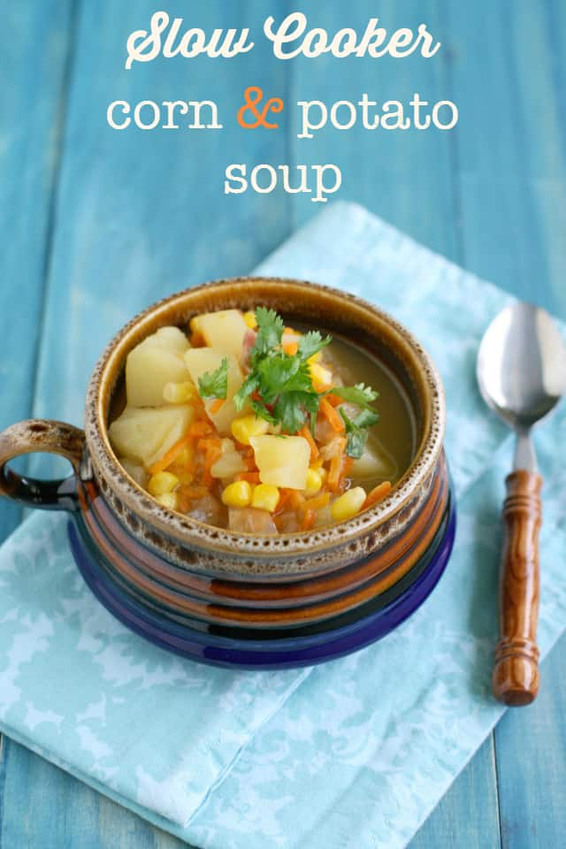 Easy and delicious slow cooker corn and potato soup. A hearty fall meal.