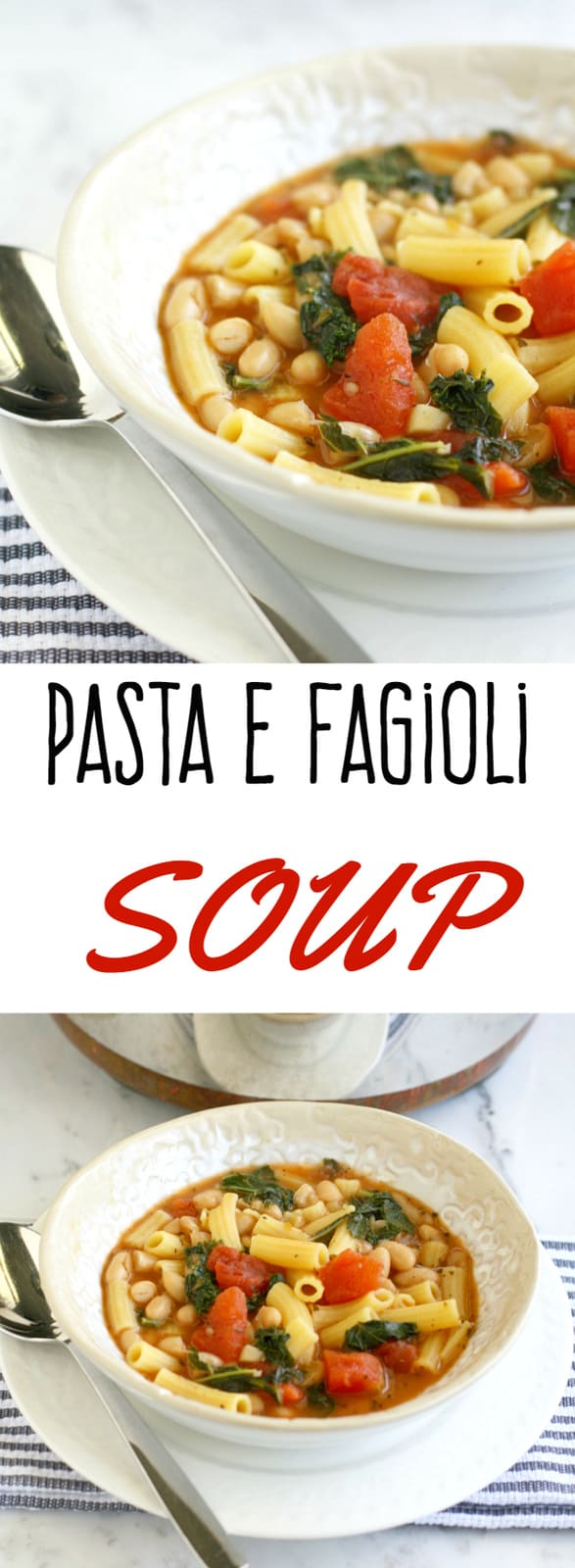 Simple, hearty, delicious pasta e fagioli soup. Perfect for a healthy weeknight meal! #vegetarian