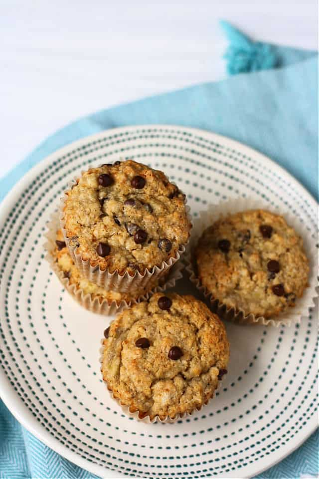 group of muffins sitting on a ceramic plate