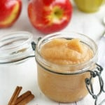 An easy recipe for homemade cinnamon applesauce. Vegan and gluten free recipe. #apples #glutenfre #vegan