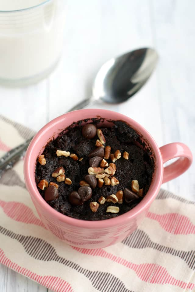 A rich double chocolate mug cake with chocolate chips - what a perfect, single serve dessert! Treat yourself!