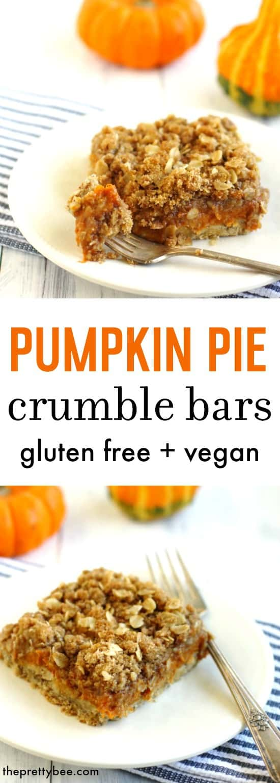 An amazing dessert for fall! These pumpkin pie crumble bars are easy to make and so delicious!