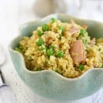 A delicious quinoa salad with ham and peas and finished with a tasty honey mustard dressing.