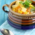 Comforting corn and potato soup made in the slow cooker. A hearty and healthy lunch or dinner.