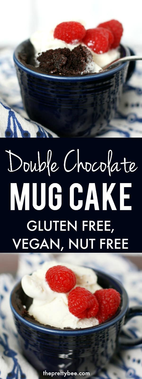 This gluten free and vegan chocolate mug cake is just the thing to make after a long day! Treat yourself with this decadent single serving dessert recipe. #glutenfree #eggfree #vegan #nutfree #dairyfree