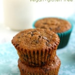 Chocolate chip banana muffin recipe made with oat flour and almond meal. Delicious and moist. #glutenfree #vegan