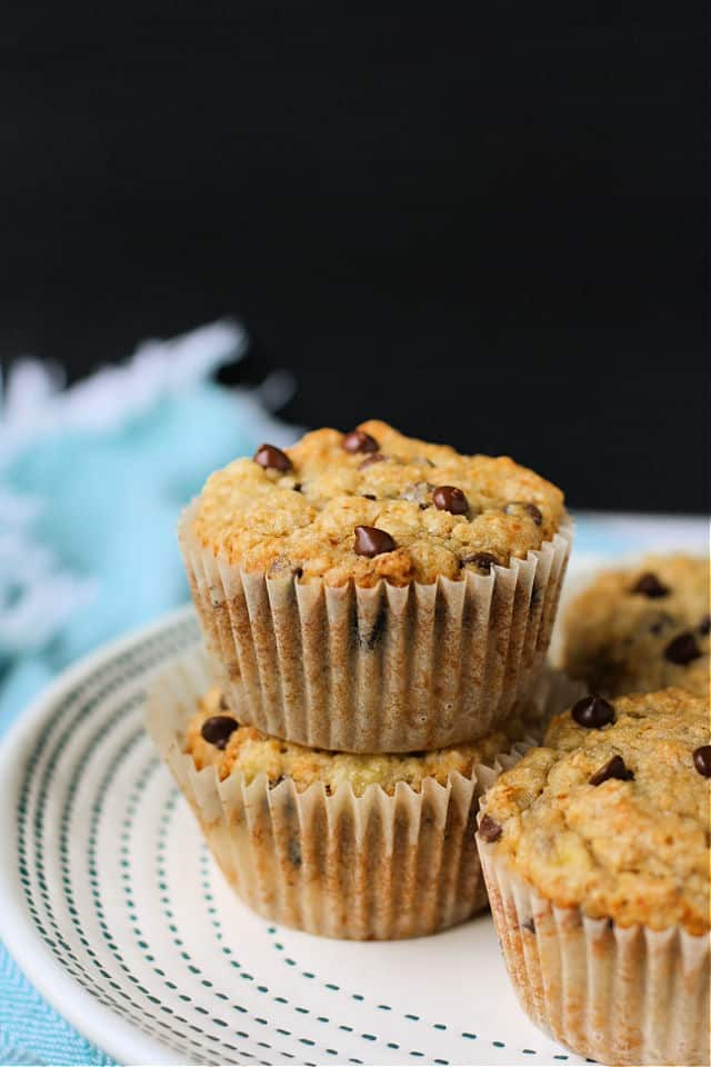 banana oat muffins on a white plate