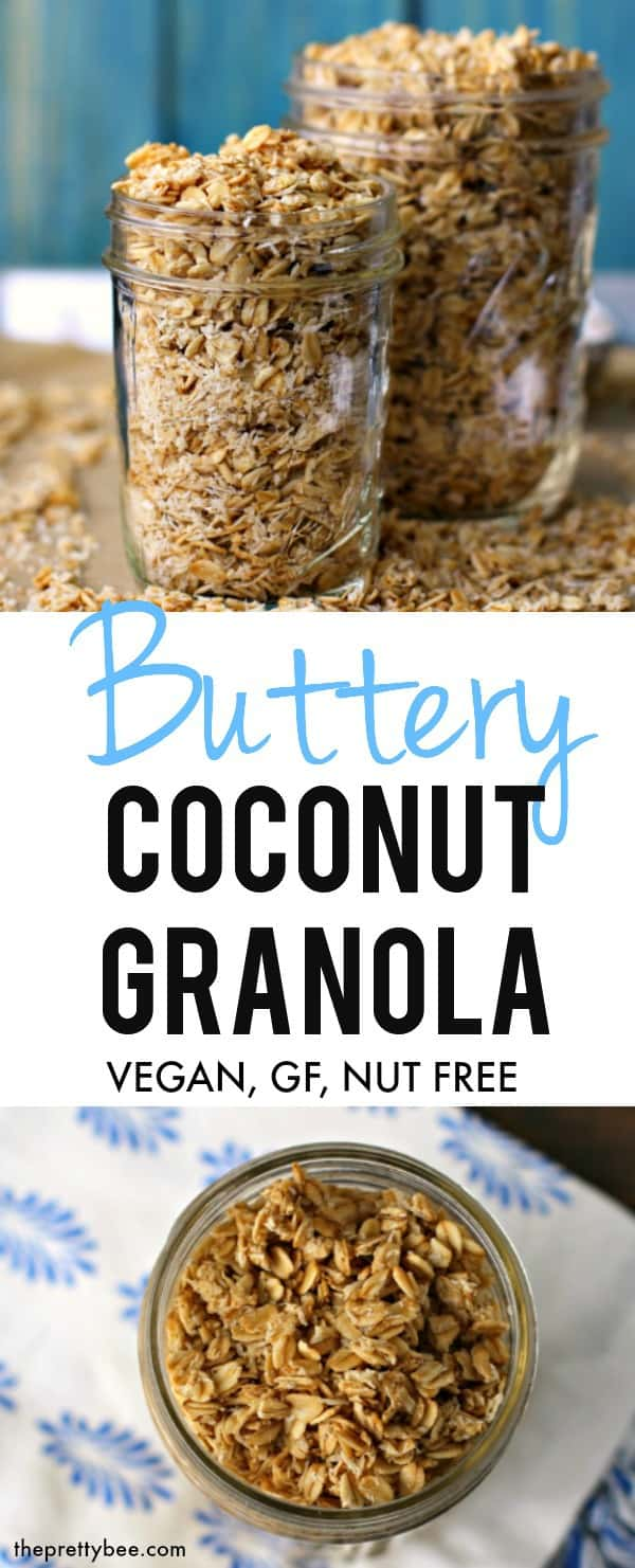 The easiest buttery, crispy, coconut granola recipe! This is a perfect #allergyfriendly breakfast! #vegan #glutenfree #dairyfree
